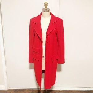St. John Long Coat Red Collared Peacoat Jacket 6